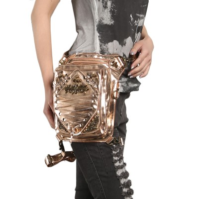 SteelMaster Steampunk Messenger Bag Small Waist Belt Bag Women Men Gothic Steampunk Style Fashion Fanny Pack Shoulder Leg Bag Holster Bag