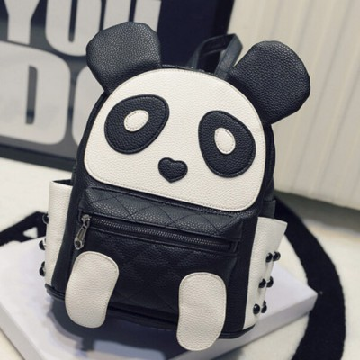 Women PU Leather Backpack Cute Cartoon Panda School Bags For Teenager Girls Kawaii Children Backpacks Causal Travel Bags