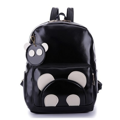 d8e51685c60 Fashion Women PU Leather Panda Backpack Teenagers Girls Cartoon School Bags  Student Book Bag Cute Black ...
