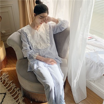 Pajamas Suit Women Princess Sweet Pyjamas Fairy Femme Pajama Sets Autumn Long Sleeve Cotton Lovely Pyjama Sleep Lounge