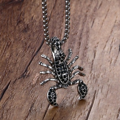 Mens Punk Necklaces Stainless Steel Scorpion King Pendant Necklace With Black Cubic Zirconia Men Gothic Biker Vintage Jewelry