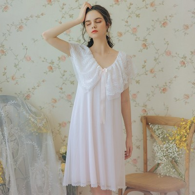 Summer Nightwear Dress Woman Lace Princess Sweet Sleepwear Nighty Sleeveless Nightgown Women