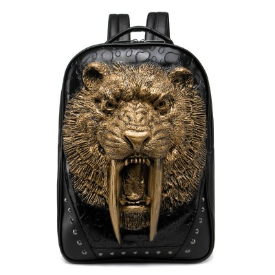 3D Animal Leather Backpack Gothic Steampunk Unique backpack cool bag steampunk fashion Men backpack Bags for Teenage Girls PU Laptop School bags Rivets Halloween Bags