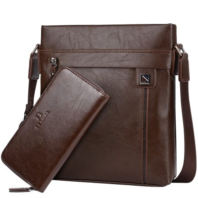 2019 New fashion men bags Split leather business travel messenger bag Brand Design men's shoulder bag  2 colors