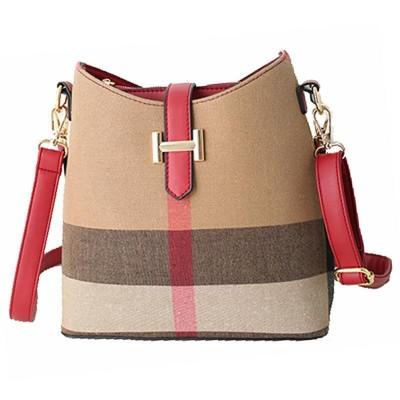 Vintage Leather Women Handbags Designer Plaid Women's Shoulder Bags Casual Canvas Women Totes Vintage Bucket Bag Bolsas Sac RL62