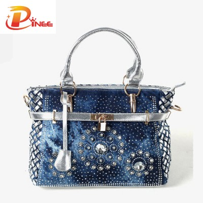 Rhinestone Handbags Designer Denim Handbags Fashion womens handbag large oxford shoulder bags patchwork jean style and crystal decoration blue bag