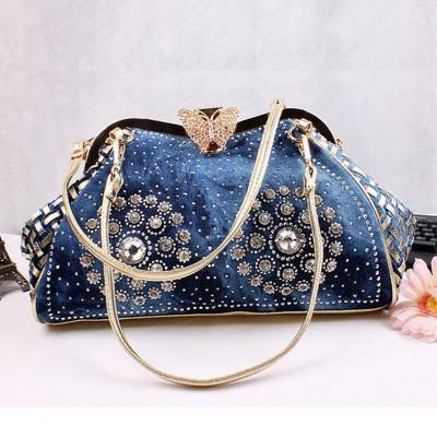 Rhinestone Handbags Designer Denim Handbags New Vintage Fashion Frame Shine Rhinestone Denim Jeans Women HandBags Evening Bags Totes Female Shoulder Message Bag
