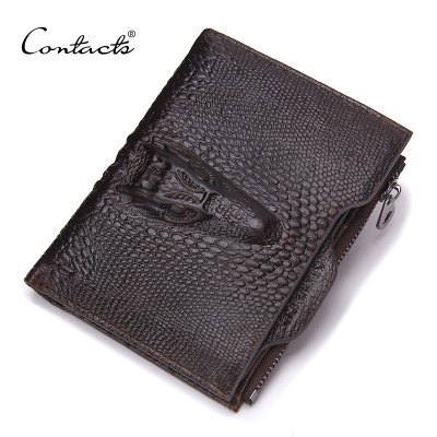 CONTACT'S Genuine Leather Men Wallets Famous Brands Alligator Mens Wallet Male Money Purses Coins Wallets With ID Card Holder