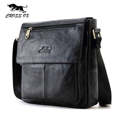 CROSS OX New Fashion Cowhide Man Messenger Bags Genuine Leather Male Cross Body Bag Casual Men Commercial Briefcase Bag SL232M