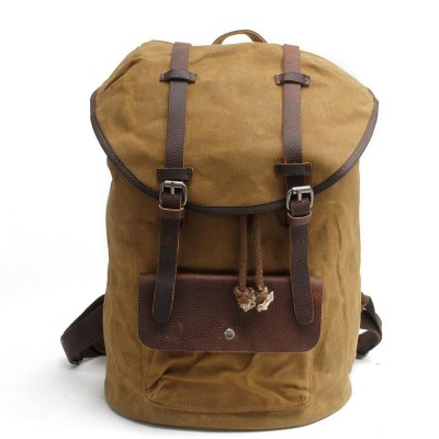 High Quality Vintage Fashion Casual Canvas Crazy Horse Leather Women Men Backpack Rucksack Shoulder Bag Bags For Men Women