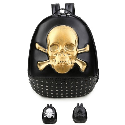 High Quality ! School 3D Skull Head Backpack Men Women 's Skeleton Faux Synthetic Leather Laptop Student Laptop Rucksack