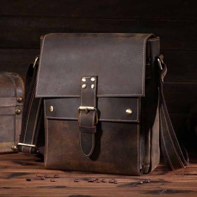 High Quality Vintage Men Bag Genuine Leather Men Messenger Bag Men Crazy Horse Leather Crossbody Shoulder Bag New