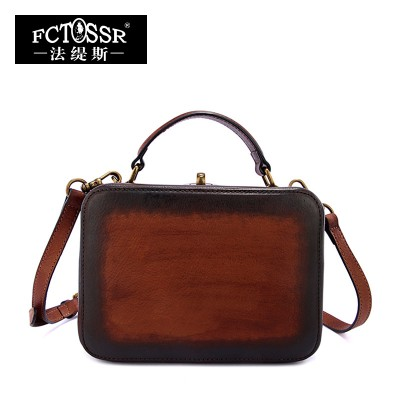 2019 Vintage Handmade Genuine Leather Top Handle Bags Cow Leather Shoulder Box Bag Women Handbag