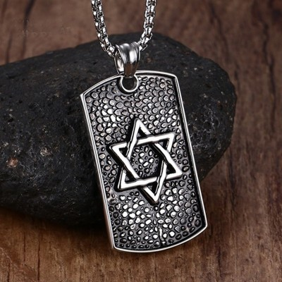 Mprainbow Men Star of David Hexagram Metals Casting Necklace 316L Stainless Steel Dog Tag Pendant  With Chain Fathers Day Git