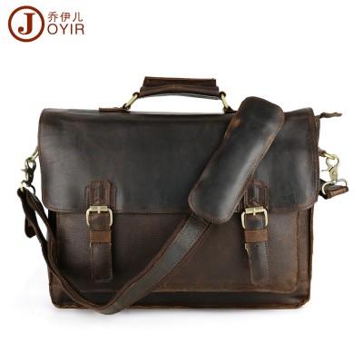 Luxury Crazy Horse Leather Satchel Messenger Bag Business Briefcase Shoulder Laptop Bag Fit 14 Laptop Men's Leather Bag Brand