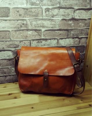 Famous Brand Crazy Horse Genuine Leather handbag Vintage Fashion Handmade men shoulder messenger bags Travel Cross-body Bag