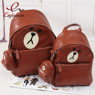 High quality fashion cartoon shape teddy bear rabbit chicken backpack casual ladies school bags pu leather bag large  small