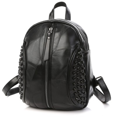 2019 NEW Black Small backpack women fashion Genuine Leather backpack punk style backpack for girls teens
