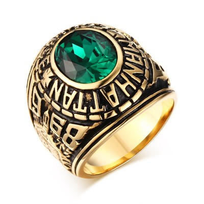 Fashion Mens Rings Stainless Steel Manhattan College Ring with Green CZ Crystal Vintage Men Bike Fashion Jewelry Graduation Gift