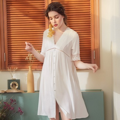 Sexy Nightgown Lace Cotton Women Summer Dress Sleepwear Woman Vintage Nighty Blue White Maternity Nighties