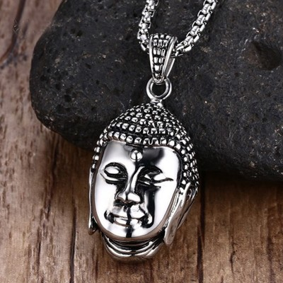 Mens Polished India Devout Buddha Choker Vintage Stainless Steel Pendant on 24 Inch Belcher Chain Necklace