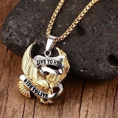 Bold and Edgy Biker Men Jewelry Live To Ride, Ride To Live Pendant Necklace for Male Stainless Steel Jewellery 24 inch