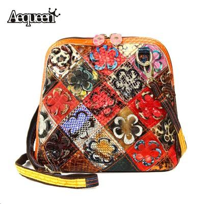 Genuine Leather Messenger Bags Stripe Matte Casual Patchwork Flower Women Shell Shoulder Bag Girls Lady Necessary Crossbody