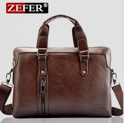 ZEFER Men's genuine leather bags male briefcase portfolio,men messenger bags business handbag shoulder bag Laptop bag