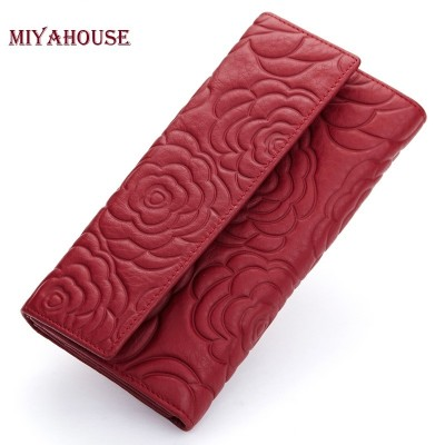 High Quality Floral Wallet Women Long Design Lady Hasp Clutch Wallet Genuine Leather Female Card Holder Wallets Coin Purse