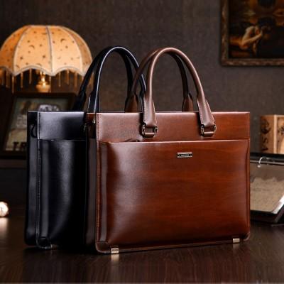 teemzone Men's Genuine Leather High End Business Briefcase Messenger Laptop Case Attache Bag Brown  attache portfolio tote