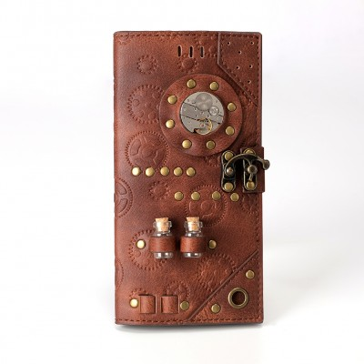 Brown Steampunk PU Leather Printing Wallet Fashion Designer Medicine Bottle Wallet for Women Men Rivet Decoration Purse Ladies Card Holder