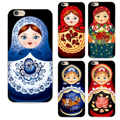 cartoon phone cases back cover for Apple iphone 6 case Lovely cartoon Russian dolls pattern painted case for iphone 6s cases TPU cover cartoon cases