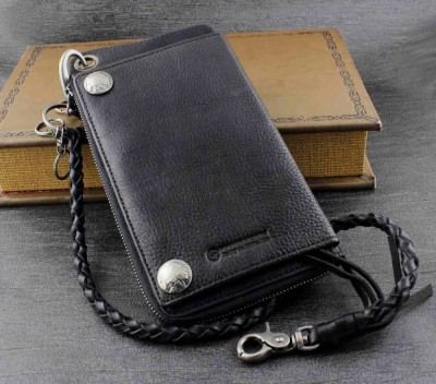 New Men's Biker Rocker Long Genuine Leather Wallet w Purse Chain Black