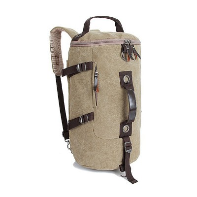 Fashion Travel Drum Bag Portable Multifunctional Vintage Canvas Solid Backpack Large Capacity Men Women Luggage Duffle Bag