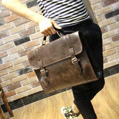 Brand Crazy horse PU leather men bags vintage business leather briefcase men's Briefcase men travel bags tote laptop bag man bag