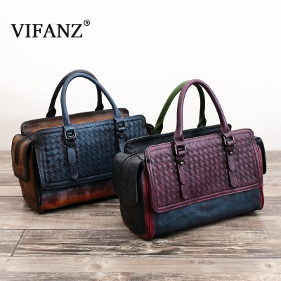 Crossbody Women Bags Handbags  Hand Woven Head Layer Cowhide Genuine Leather Large Hobos Handbag Totes Patchwork Vintage Tote
