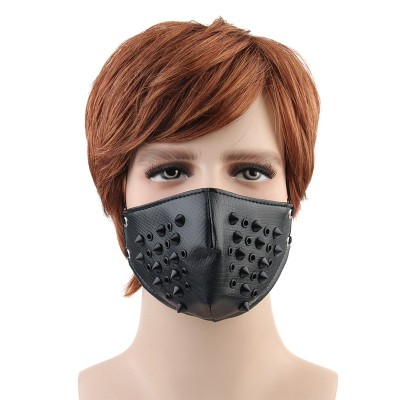 Fashion Motorcycle Mask Punk Rock Half Face Mask Hip-hop Halloween Party Leather Mask Punk Cosplay Rivets PU Masks