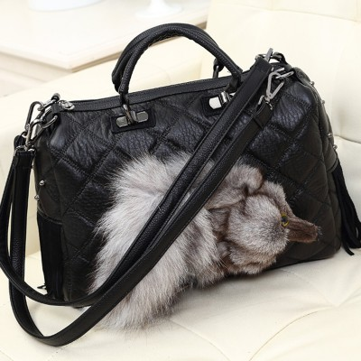 KIBDREAM Winter Fox fur Bag with internal Shoulder and Tote Hand Diagonal Interval Zipper Bag Fahion Women Bags