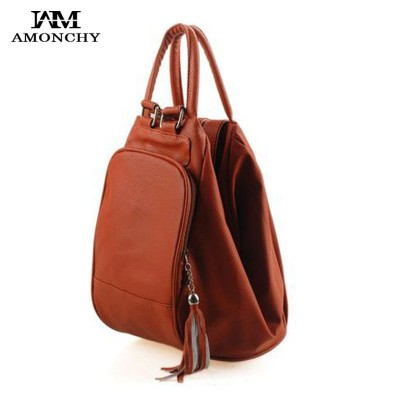 Fashion Tassel Women's Leather Backpacks Casual Lady Backpack Travel Bag Campus Women Bag School Shoulder Bags Mochilas Feminina