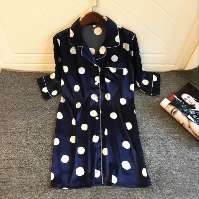 2019 Spring Summer Print Half Sleeve Nightdress For Women Silk Sexy Nightshirts Satin Nightgowns Female Sleepshirts