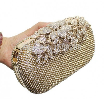 2017 New Both Side Diamond Flower Crystal Evening Bag Clutch Bags Hot Styling Day Clutches Lady Wedding Purse
