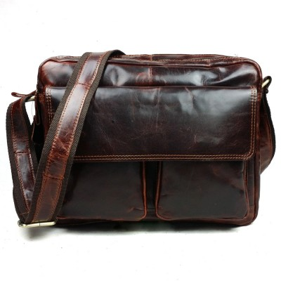 2019 Direct Selling New Arrival Genuine Leather Soft Wax Oil Head Layer Casual Zipper Flap Single Shoulder Mens Messenger Bags
