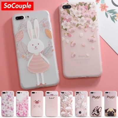 Case For iphone 7 Case Cute Cartoon Animal Back Cover Phone Cases For iphone 6 6S 6/7PLus 8 SoCouple Colorful Flower Rabbit