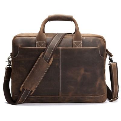 Vintage Men's Genuine Leather briefcase,16 inch Big Business Handbag Cowhide Laptop Handbag briefcase messenger bag fast post