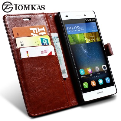 Huawei Ascend P8 Lite Case TOMKAS Wallet Leather Case For Huawei Ascend P8 Lite 2015 Flip Cover Coque Phone Cases For Huawei P8 Lite 2015 With Card Holder