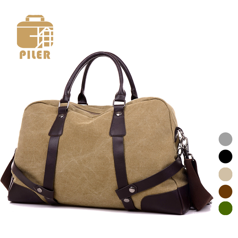 78f0938fd7 2017 Vintage Canvas Duffel Bags Men Large Weekend Bag Overnight ...