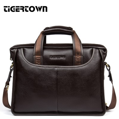 TigerTown Men's Cowhide Handbag 100% Genuine Leather Bag Business Messenger Bags Shoulder  Portable Briefcase Laptop Purse 14