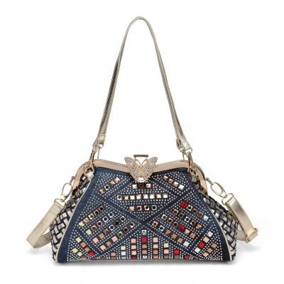 Rhinestone Handbags Designer Denim Handbags Ladies Handbags Women Fashion Bags Brand Design Women' Shoulder Bags Denim Rhinestones Decorative