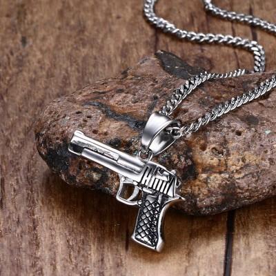 Fashion Mens Necklaces Pendants Stainless Steel Pistol Hand Gun Pendant Necklace Biker Men Silver-color Hip-Hop Jewelry collier