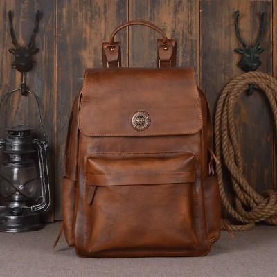 Mochila Feminina Mochilas High Quality Vintage Unisex 100% Guarantee Real Genuine Leather 15 Inch Laptop Backpack Travel Bag